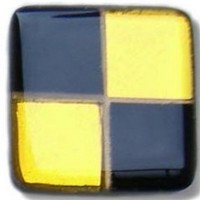 Glace Yar SQ-402AB1, Square 1in Lng Glass Knob, 4 Tiles, Solid Black & Gold Clear, Gold Grout, Antique Brass