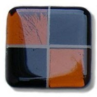 Glace Yar SQ-403BR1, Square 1in Lng Glass Knob, 4 Tiles, Solid Black & Copper Clear  w/Copper Grout, Brass Base