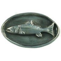 Sierra Lifestyles 681318, Mounted Fish Knob, Pewter, Rustic Lodge Collection