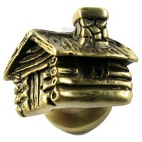 Sierra Lifestyles 681329, Knob, Cabin Knob - Antique Brass, Rustic Lodge Collection