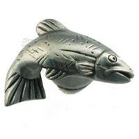 Sierra Lifestyles 681384, Knob, Fish Knob, Right Face, Pewter, Rustic Lodge Collection