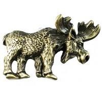 Sierra Lifestyles 681407, Pull, Moose Pull - Antique Brass, Rustic Lodge Collection