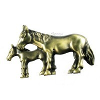 Sierra Lifestyles 681447, Pull, Mare And Foal Pull - Antique Brass, Western Collection