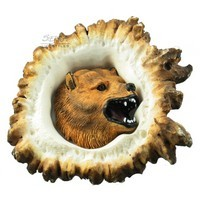 Sierra Lifestyles 681457, Pull, Elk Burr Pull, Grizzly Bear, Rustic Lodge Collection