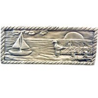 Sierra Lifestyles 681568, Pull, Sail Boat Scene - Pewter, Coastal Collection