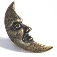Emenee MK1001ABB, Knob, Moon Facing (R), Antique Bright Brass