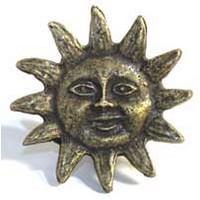 Emenee MK1002ABR, Knob, Sun, Antique Matte Brass