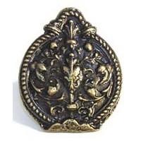 Emenee MK1018ABR, Knob, Crest, Antique Matte Brass