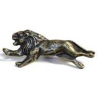 Emenee MK1019ABR, Knob, Lion, Antique Matte Brass