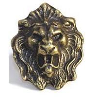 Emenee MK1035ABB, Knob, Lion Head, Antique Bright Brass