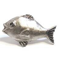 Emenee MK1037AMS, Knob, Fish, Antique Matte Silver