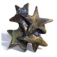 Emenee MK1040ABR, Knob, Star Cluster, Antique Matte Brass