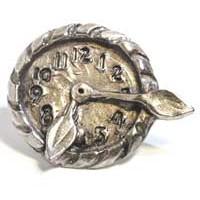 Emenee MK1046AMS, Knob, Clock, Antique Matte Silver