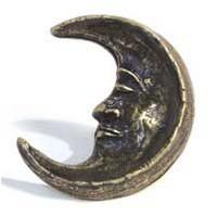 Emenee MK1048ABR, Knob, Half Moon, Antique Matte Brass