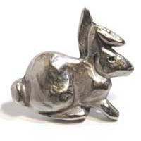 Emenee MK1049AMS, Knob, Rabbit, Antique Matte Silver