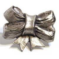 Emenee MK1051AMS, Knob, Ribbon, Antique Matte Silver