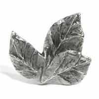 Emenee MK1074AMS, Knob, 3 Leaves, Antique Matte Silver