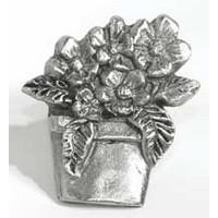 Emenee MK1120AMS, Knob, Flower Pot, Antique Matte Silver