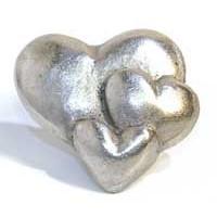 Emenee MK1122AMS, Knob, 3-Hearts, Antique Matte Silver