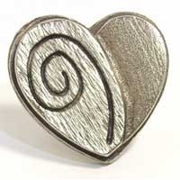 Emenee MK1136AMS, Knob, Heart, Antique Matte Silver