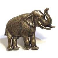 Emenee MK1151ABB, Knob, Elephant Facing (R), Antique Bright Brass