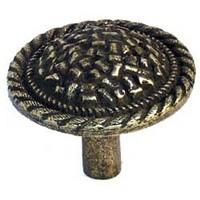 Emenee MK1171ABR, Knob, Rope Edge With Texture, Antique Matte Brass