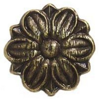 Emenee MK1178ABB, Knob, Flower Ormolu, Antique Bright Brass