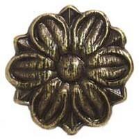 Emenee MK1178ABR, Knob, Flower Ormolu, Antique Matte Brass
