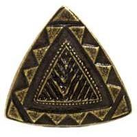 Emenee MK1182ABR, Knob, Southwestern Triangle, Antique Matte Brass