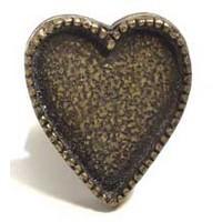 Emenee MK1204AMS, Knob, Heart, Antique Matte Silver