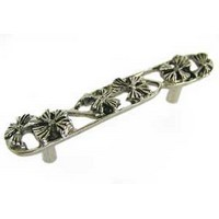 Emenee OR161AMS, Handle, 3 Open Flower, Antique Matte Silver