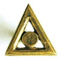 Emenee OR223ABB, Knob, Small Triangle, Antique Bright Brass