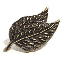 Emenee OR313ABS, Knob, Double Leaf, Antique Bright Silver