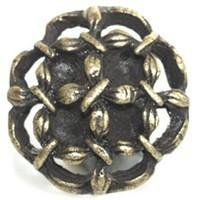 Emenee OR108ABB, Knob, Open Flower, Antique Bright Brass