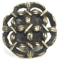 Emenee OR108ABR, Knob, Open Flower, Antique Matte Brass