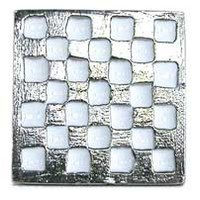 Emenee OR138WHENM, Knob, Checkerboard Square, Enamel W/White
