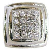 Emenee OR165BS, Knob, Small Rhinestone Square Rim, Bright Silver