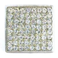 Emenee OR166BS, Knob, Large Square Rhinestone, Bright Silver
