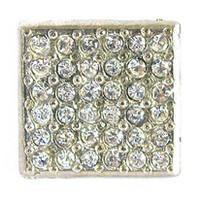 Emenee OR167BS, Knob, Small Square Rhinestone, Bright Silver