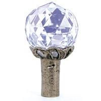 Emenee OR170ABR, Knob, Small Round Crystal, Antique Matte Brass