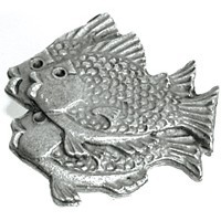 Emenee OR210ABS, Knob, School Of Fish (L), Antique Bright Silver