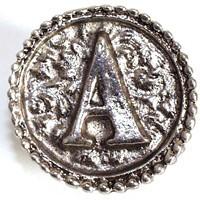 Emenee OR225ABS, Knob, A, Antique Bright Silver
