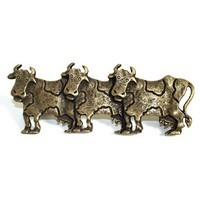 Emenee OR254ABB, Pull, 3 Cows (L), Antique Bright Brass