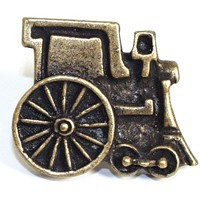 Emenee OR257AMS, Knob, Train, Antique Matte Silver