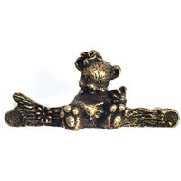 Emenee OR258ABB, Handle, Bear, Antique Bright Brass