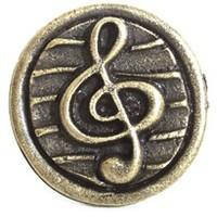 Emenee OR281ABB, Knob, G-Clef, Antique Bright Brass