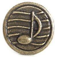 Emenee OR282ABR, Knob, Music Note, Antique Matte Brass