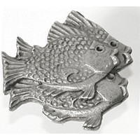 Emenee OR285ABS, Knob, School Of Fish (R), Antique Bright Silver