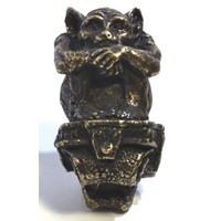 Emenee OR370AMS, Knob, Sitting Gargoyle, Antique Matte Silver