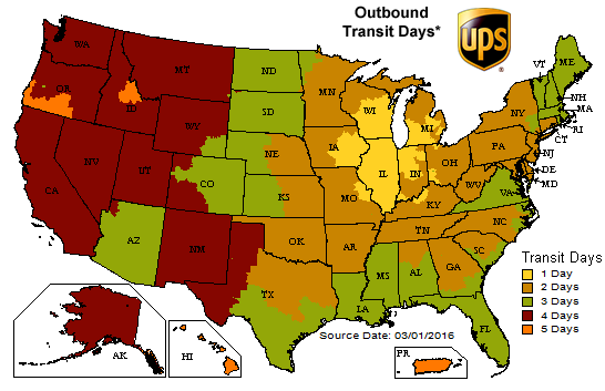 image showing UPS Outbound Transit Days from Woodworker Express